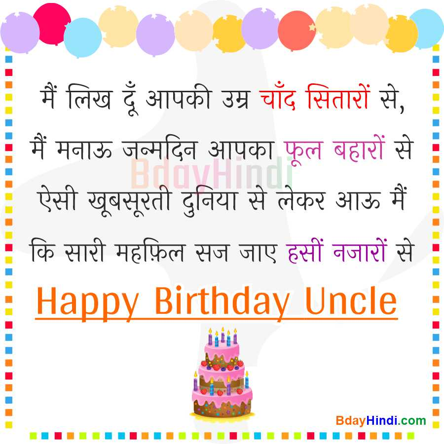 Happy Birthday Uncle in Hindi