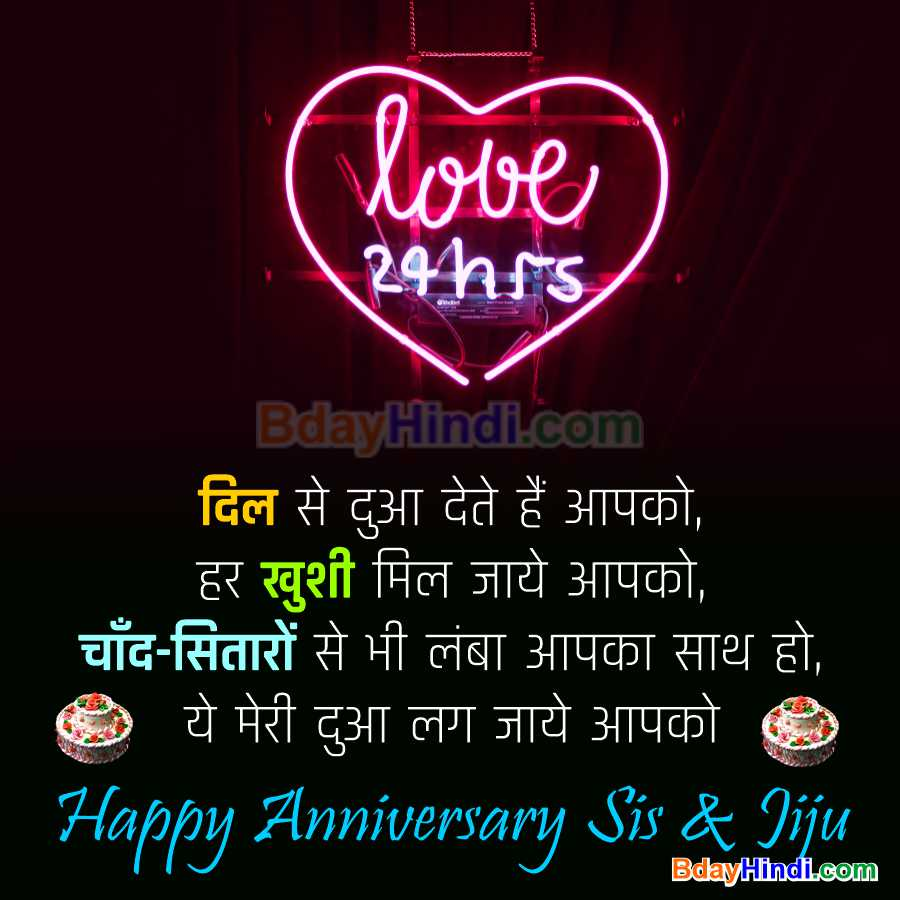 Happy Wedding Anniversary Wishes for Bahen aur Jijaji in Hindi